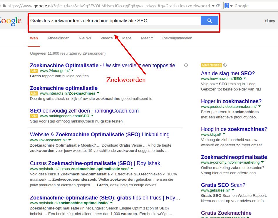 Gratis cursus zoekwoorden zoekmachine optimalisatie