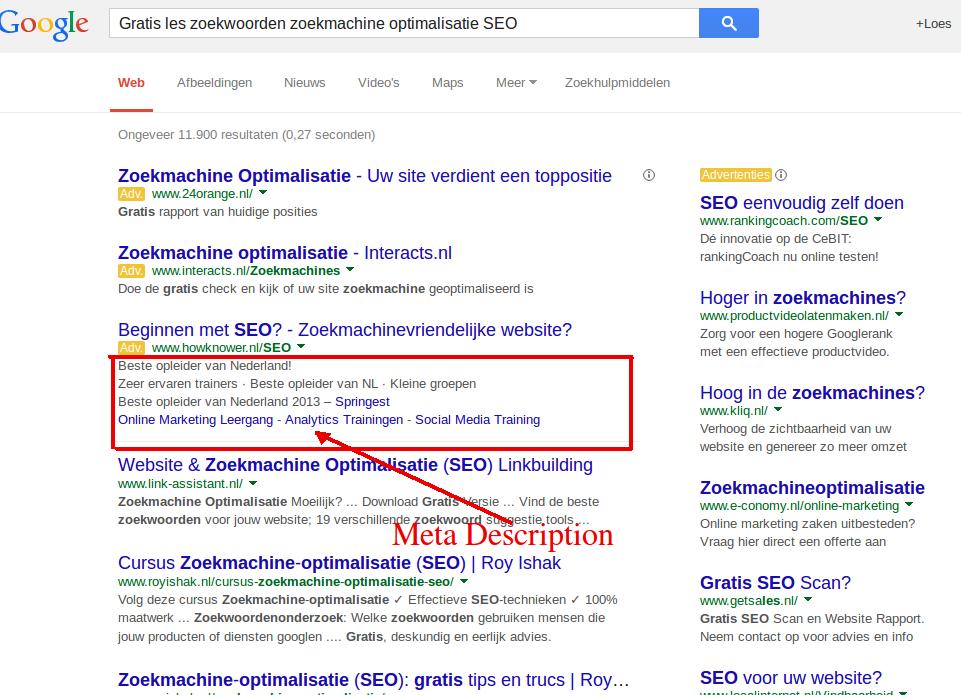 Gratis cursus zoekwoorden zoekmachine optimalisatie, meta description