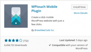 WP touch mobile plugin