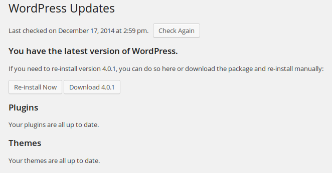 update wordpress version